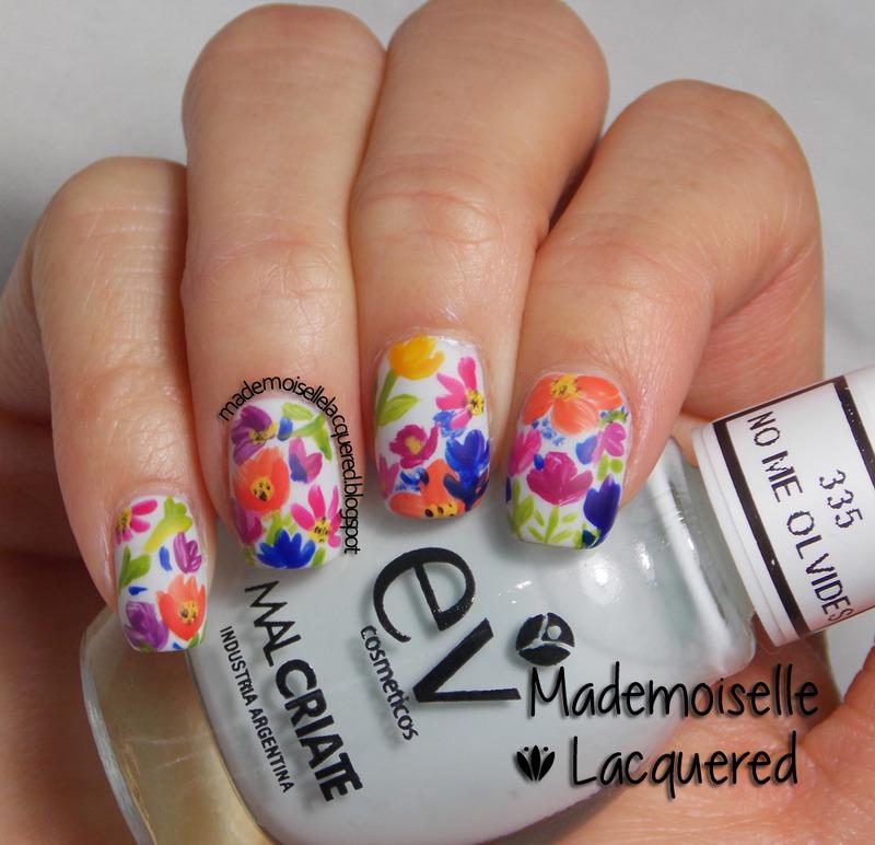 Watercolor Nails nail art by Emilia