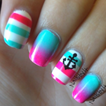 Neon nautical nail art nail art by Lichelle (NailsbyLichelle)