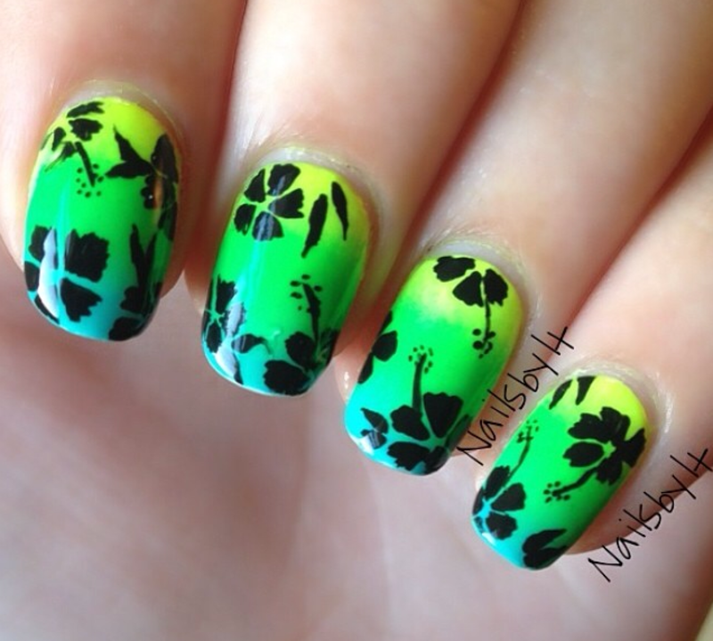 Neon Floral Hibiscus  nail art by Lichelle (NailsbyLichelle)