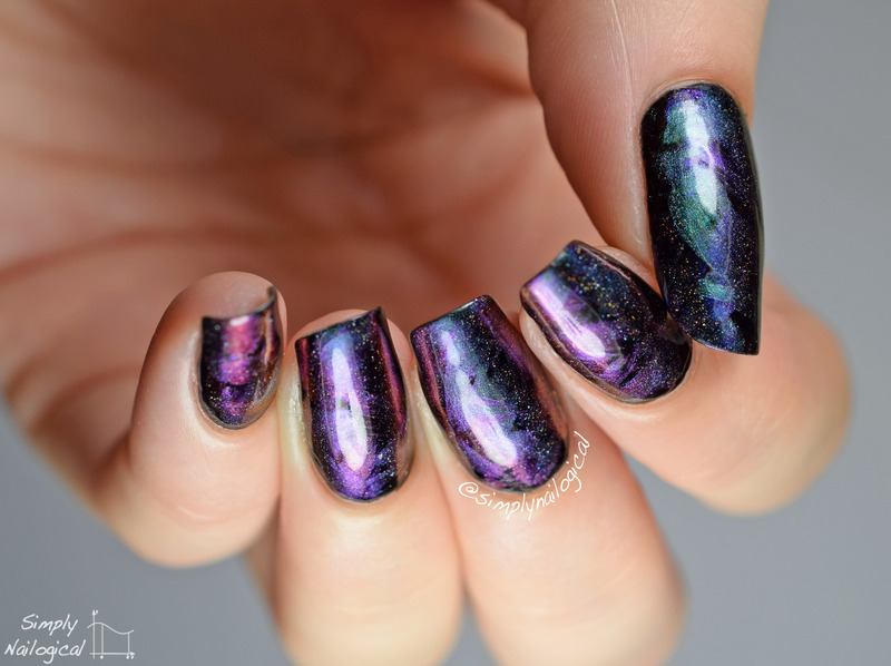 Drybrushing with holo duochromes over black nail art by simplynailogical