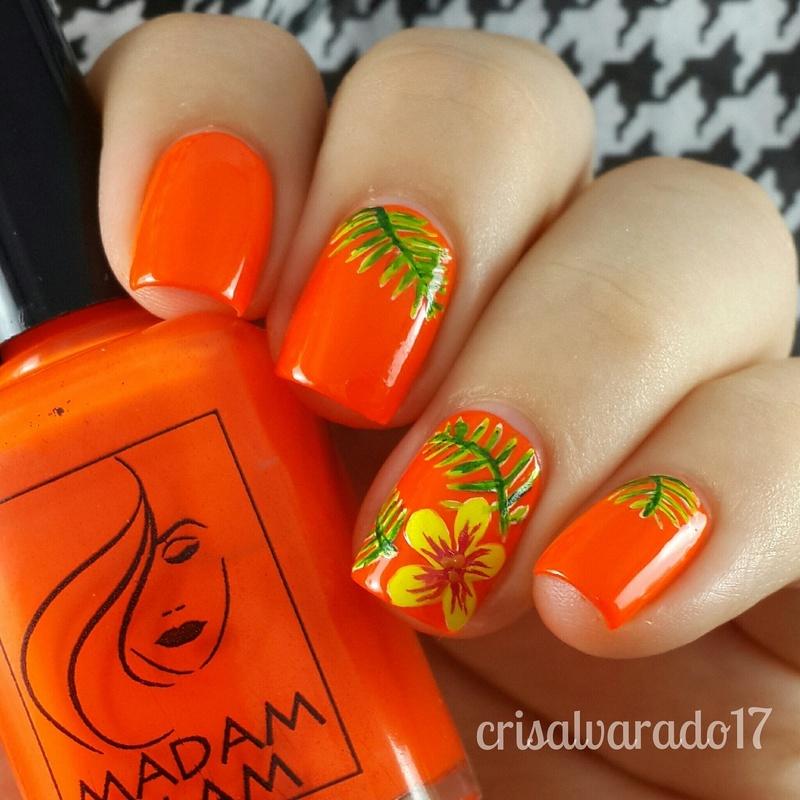 Tropical Flower Nail Art By Cristina Alvarado Nailpolis Museum Of