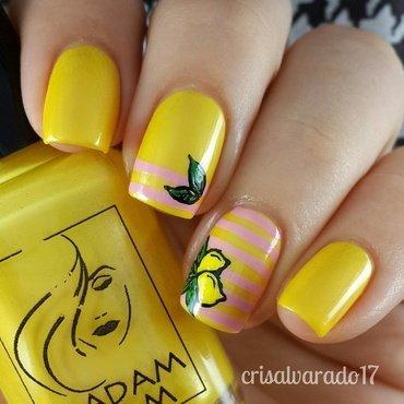 Pink lemonade nail art by Cristina Alvarado