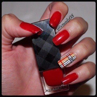 Classic Burberry nails! nail art by Caroline
