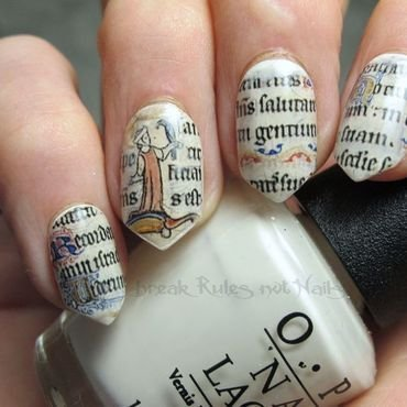 Medieval manuscript  nail art by Michelle
