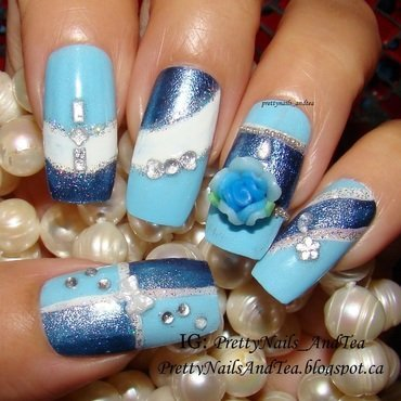The blue Rose nail art by PrettyNailsAndTea