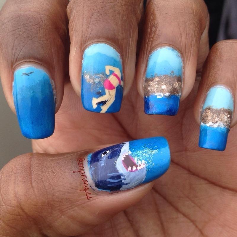 Shark Week nail art by Tonya Simmons