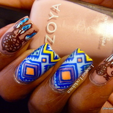 Neon and Nude Tribal nail art by Tamira (Lacquer Lockdown)