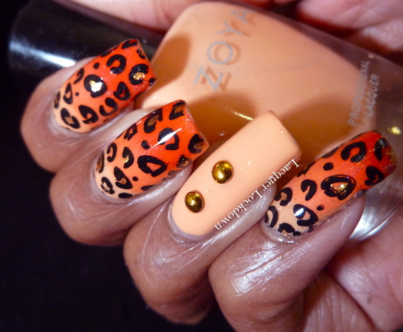 Orange Leopard Gradient  nail art by Tamira (Lacquer Lockdown)