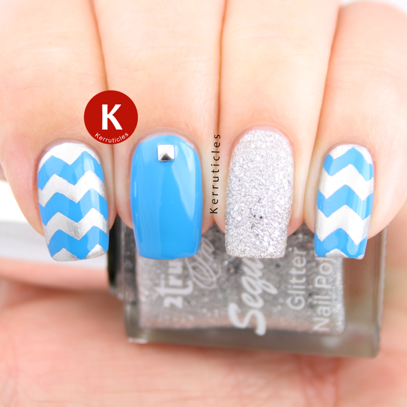 Cyan blue and silver skittlete nail art by Claire Kerr