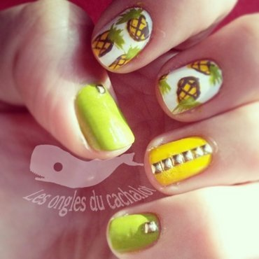 Pineapple sun ! nail art by Cachalot