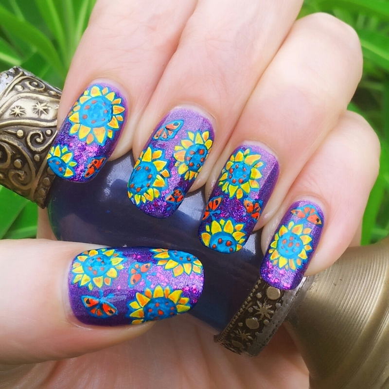 Sunflowers nail art by Ruth Cox (@firefly5)