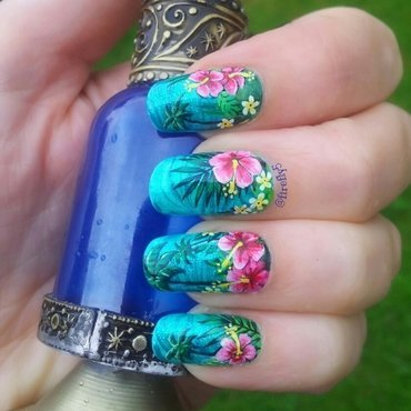 Tropical Hibiscus nail art by Ruth Cox (@firefly5)