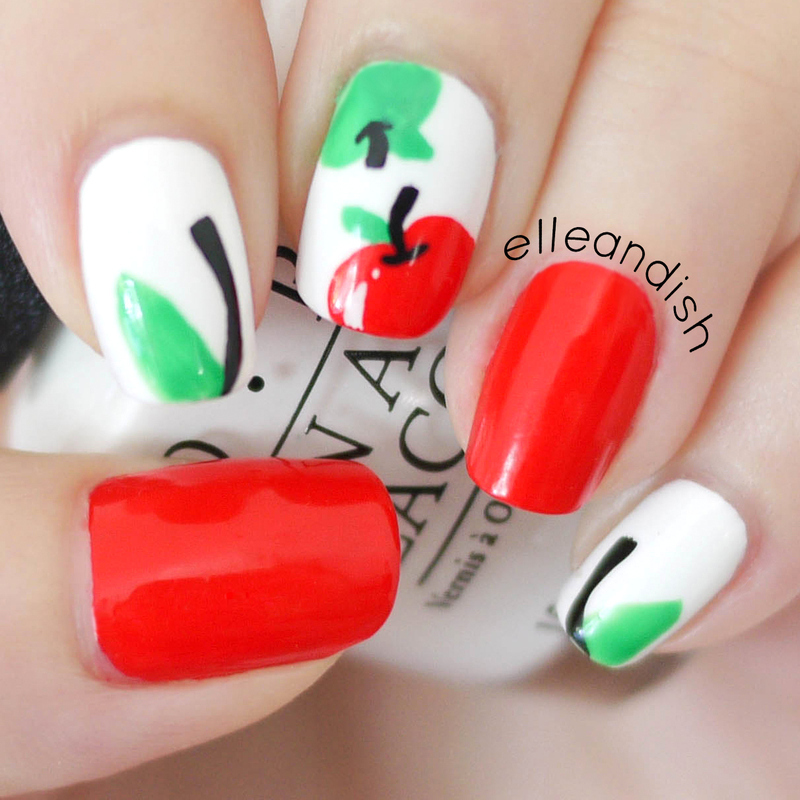 Back to School Apple Nails nail art by elleandish