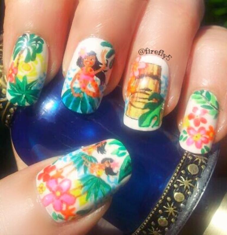Hula Girls nail art by Ruth Cox (@firefly5)