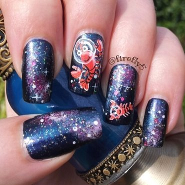 Lobsters in Space! nail art by Ruth Cox (@firefly5)