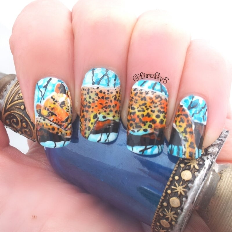 Lounging Leopard Nail Art nail art by Ruth Cox (@firefly5)