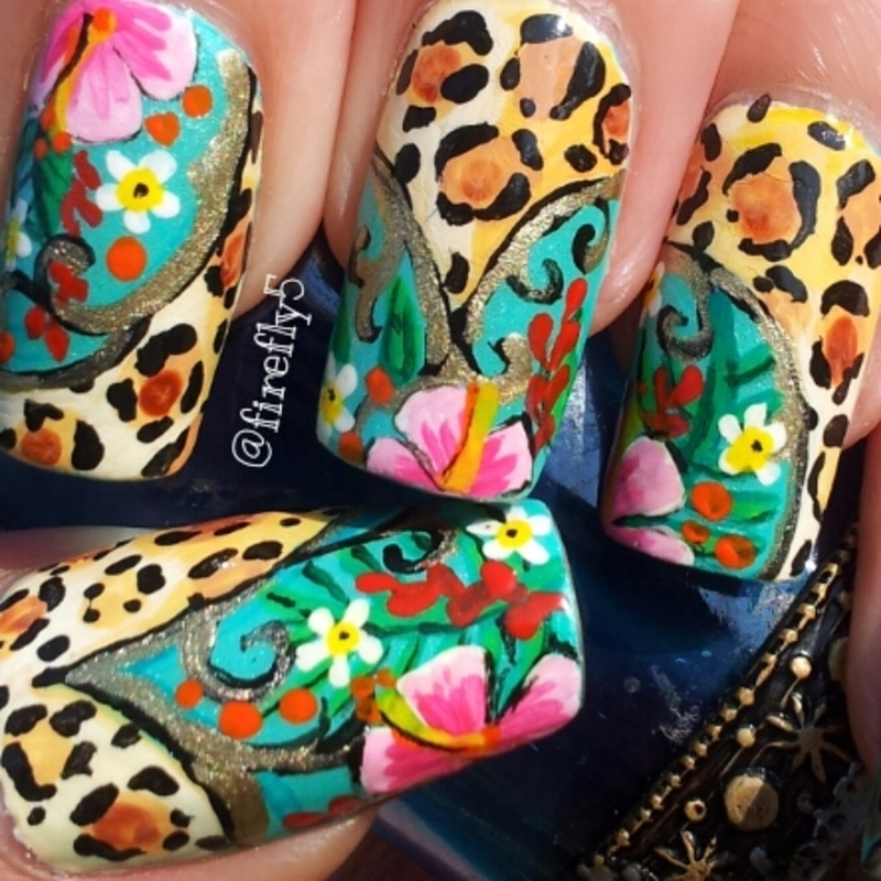 Exotic Leopard nail art by Ruth Cox (@firefly5)