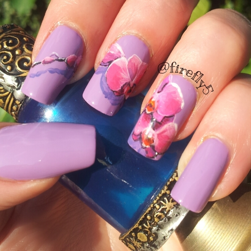 Radiant Orchids nail art by Ruth Cox (@firefly5)