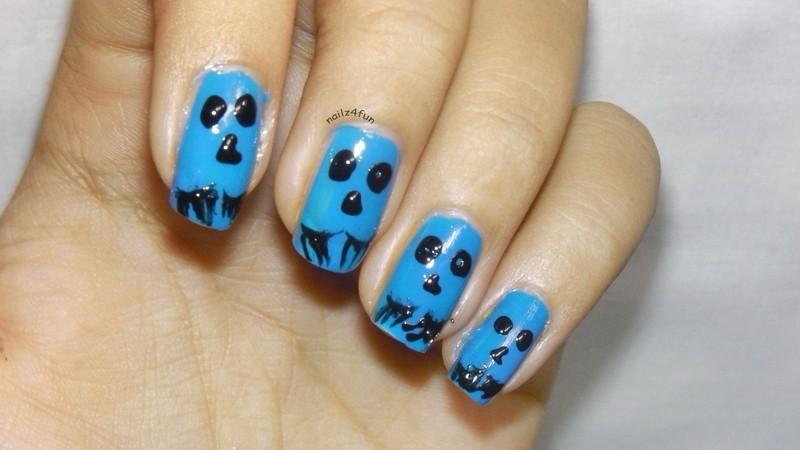 Monster Face nail art by Nailz4fun