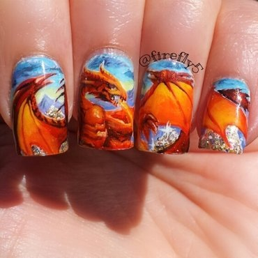 Dragon nails nail art by Ruth Cox (@firefly5)