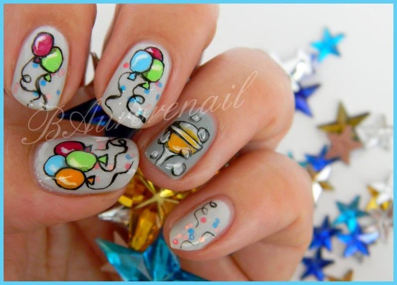 20 amazing celebration party nail art designs nailpolis magazine bright and fun champagne balloon nails prinsesfo Choice Image
