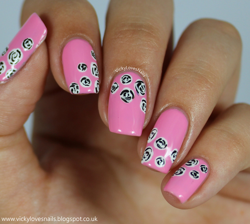 Pink with Black and White Roses nail art by Vicky Standage