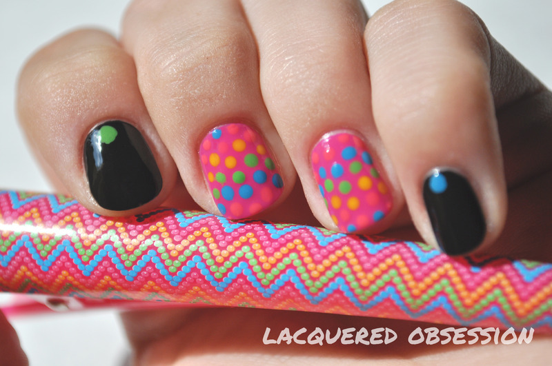 Dotticure inspired by a hair clip nail art by Lacquered Obsession