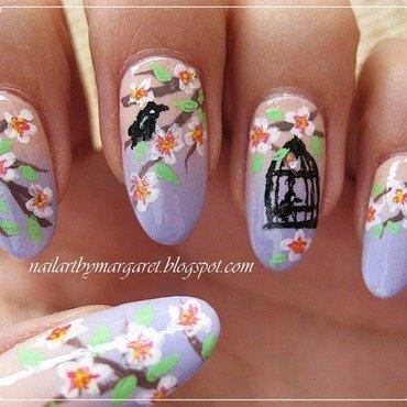 Kwiat wiśni nail art by Margaret Nail Art
