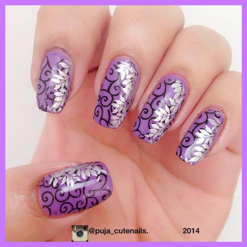Double stamping nail art nail art by Puja Malhotra