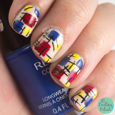 Red blue yellow primary blocked nail art 4 thumb370f