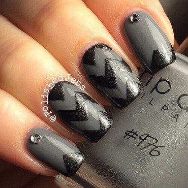 Black and Gray nail art by PolishedJess
