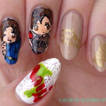 Feliciano and Romano nail art nail art by girlchickbetty
