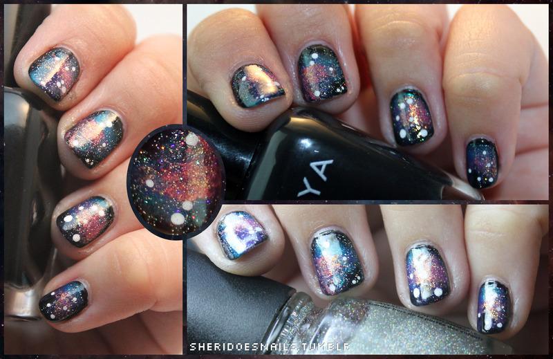 Glitter Galaxy nail art by moon doggo