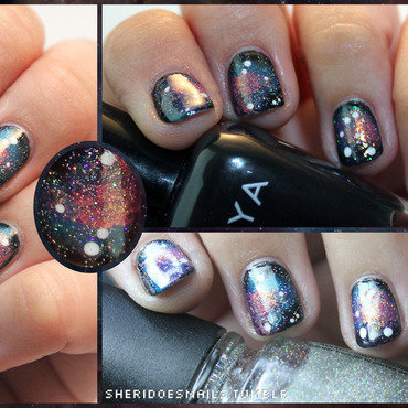 Glitter Galaxy nail art by moon doggo