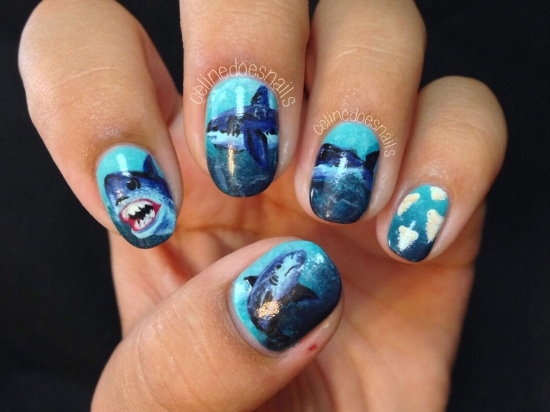 SHARK WEEK nail art nail art by Celine Peña