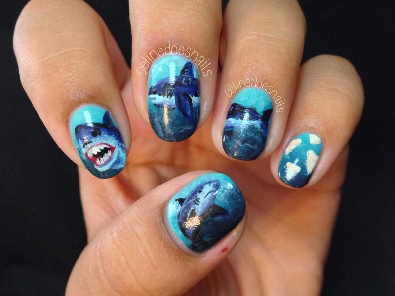 SHARK WEEK nail art nail art by Celine Peña - Nailpolis: Museum of ...