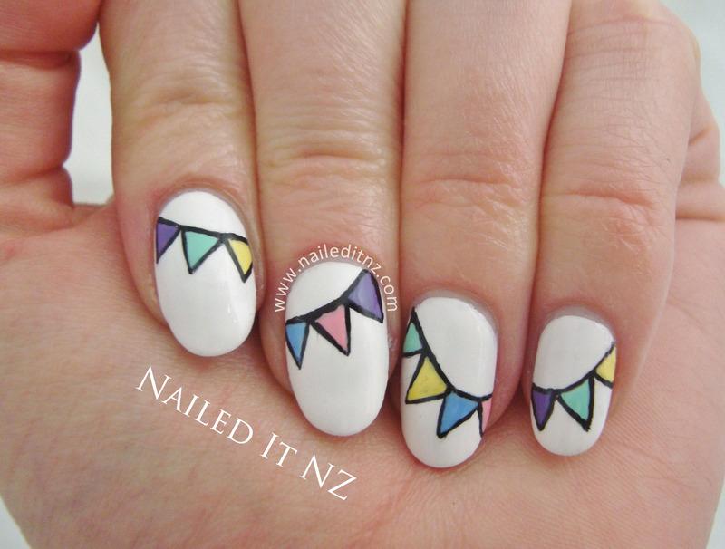 Pastel Bunting Nail Art nail art by Jessie Mills
