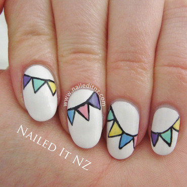 Pastel Bunting Nail Art nail art by Jessie Mills