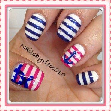 Nautical Nails nail art by Riece