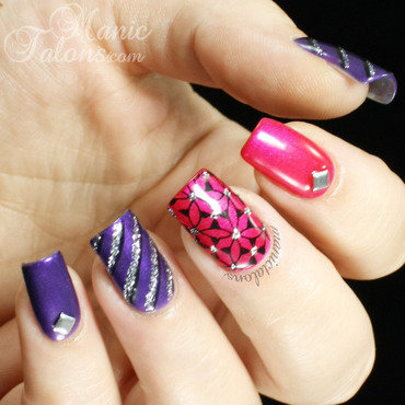 Purple, Pink, Black and Silver Reader Challenge nail art by ManicTalons