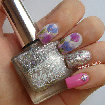 Floral Water Decals nail art by Christina