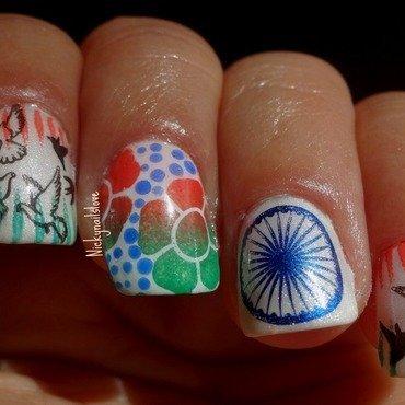 Ashoka Chakra nail art by Nicky