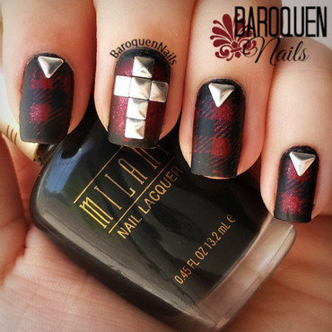 Grunge Plaid nail art by BaroquenNails