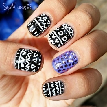 tribal print inspired  nail art by SydVicious