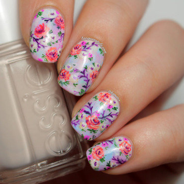 Summer Pastel Floral Nails nail art by Kristin (Lacquerstyle)