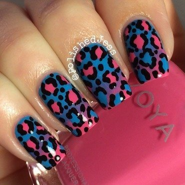 Leopard Gradient  nail art by PolishedJess