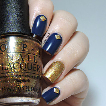 Blue and gold studded mani nail art by Marine Loves Polish