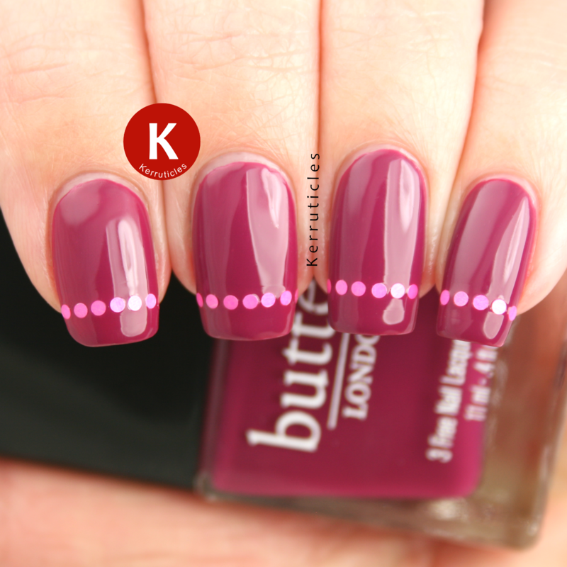 Purple with pink round glitter placement tips nail art by Claire Kerr
