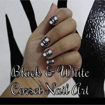 Black and White Corset Nail Art nail art by ImJanine0812