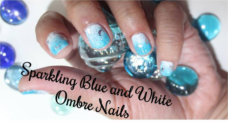 Sparkling Blue and White Ombre Nails nail art by ImJanine0812